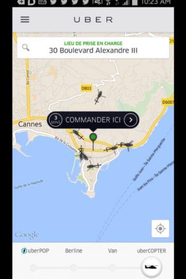 Uber cubrió toda la zona de Cannes en Francia Foto:https://twitter.com/UberFR