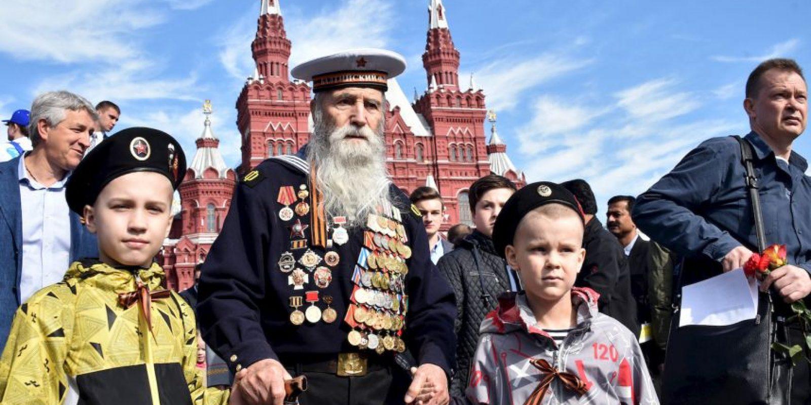 Veteranos en la conmemoración del Día de la Victoria en Rusia. Foto:AFP