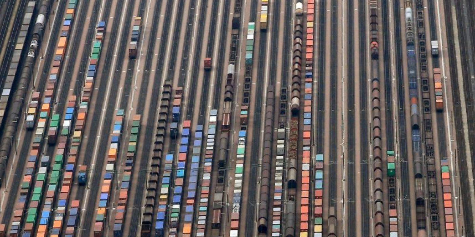 Vista aérea de las vías del tren en Alemania. Foto:AFP
