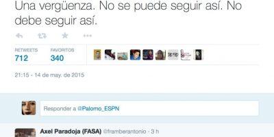 Fernando Palomo, de ESPN, también se refirió a este escándalo. Foto:vía Twitter