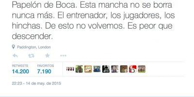 Juan Pablo Varsky, otra autoridad del fútbol, también condenó la actitud del club. Foto:vía Twitter