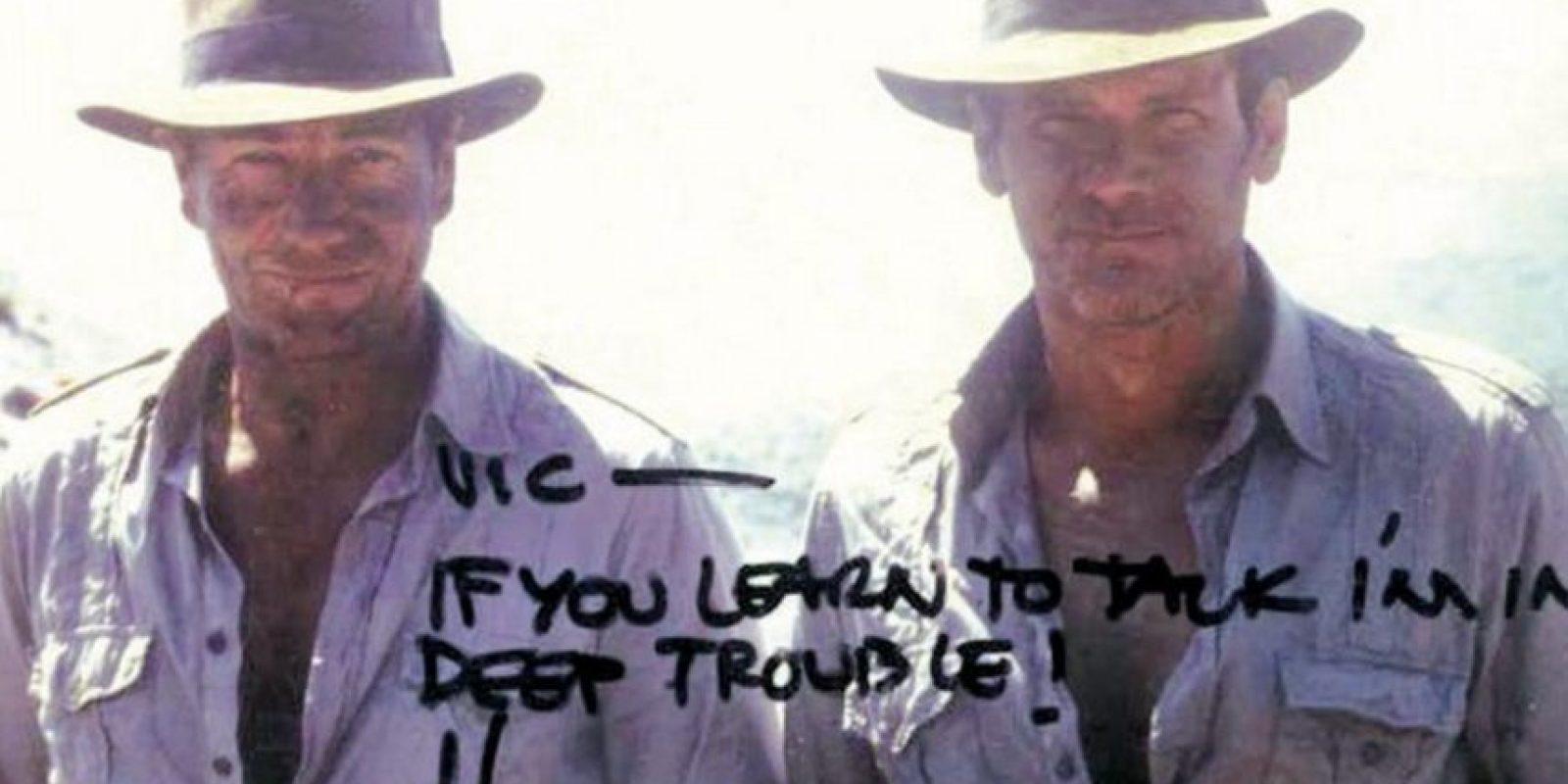 """Harrison Ford y Vic Armstrong en """"Indiana Jones"""" Foto:Vía reddit.com"""