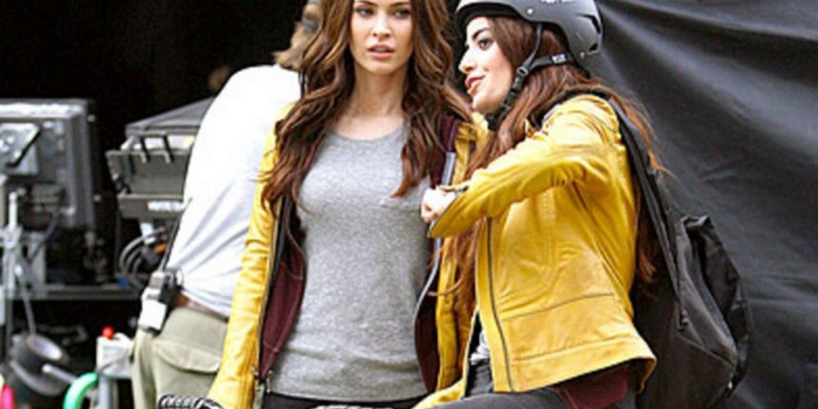"""Megan Fox y su doble en """"Tortugas Ninja"""" Foto:Vía teamfox.tumblr.com/"""