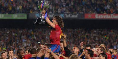 En 2009, el Barcelona de Pep Guardiola, Messi, Eto'o y Xavi se coronó en la Liga, en la Copa del Rey ante el Athletic Club y en la Champions League ante el Manchester United en el Estadio Olímpico de Roma. Foto:Getty Images