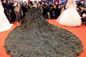 Vestido de pavo real (no nos pregunten cuántos murieron). Foto:vía Getty Images