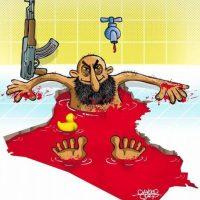 """""""ISIS y la Copa del Mundo"""", dibujo realizado por Davood Safari, de Iran. Foto:irancartoon.com"""