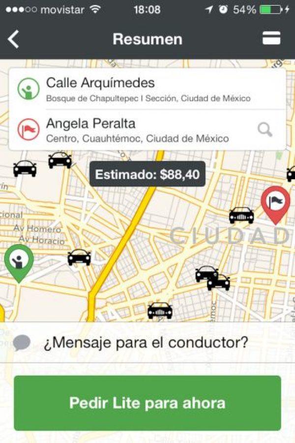 9) Ingresando su lugar de origen y destino pueden ver la tarifa estimada para conocer el precio aproximado de su viaje. Foto:Cabify