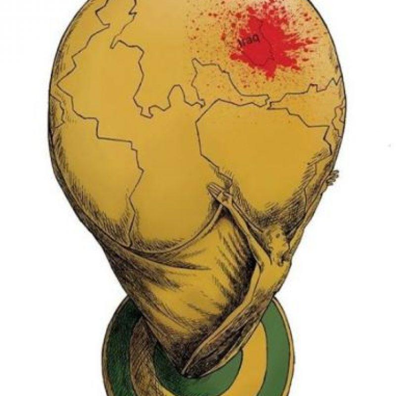 """Payam Borumand-Iran – Mejor cartón """"ISIS en Irak y la Copa del Mundo 2014"""" Foto:irancartoon.com"""