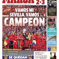 """En España el tema principal fue el campeonato de Sevilla en la Europa League, aunque le dieron un pequeño espacio al """"FIFA Gate"""". Marca publicó: """"El FBI desmonta la FIFA"""". Foto:marca.com"""