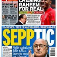 """Daily Mirror: """"Sepptic: el presidente de la FA puja para derrocar a Blatter en medio del caos de la FIFA gracias a arrestos por corrupción"""". Foto:mirror.co.uk"""