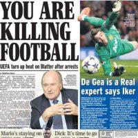 """Daily Express: """"Estás matando el fútbol"""". Foto:express.co.uk"""