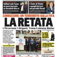 """En Italia también tocaron el tema sus principales diarios deportivos. La Gazzeta dello Sport publicó: """"Corrupción: Un terremoto en la FIFA. La redada. El FBI arresta a 7 dirigentes. Tiembla el sistema Blatter"""". Foto:gazzetta.it"""