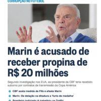 """En Latinoamérica también se tocó el tema: """"Marin es acusado de recibir pagos de 20 millones"""", publicó sobre el """"FIFA Gate"""" el periódico brasileño """"O'Globo"""". Foto:oglobo.globo.com"""