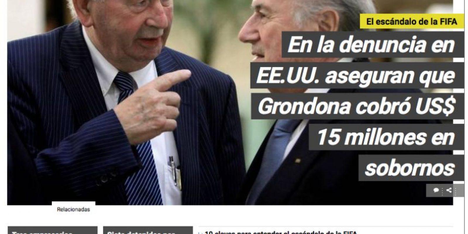 """Clarín (Argentina): """"En la denuncia en EEUU aseguran que Grondona cobró US$ 15 millones en sobornos"""". Foto:clarin.com"""