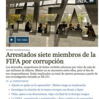 """ABC: """"Arrestados siete miembros de la FIFA por corrupción"""". Foto:abc.es"""