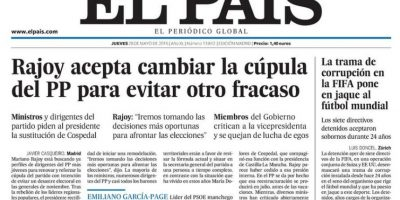 """El País: """"La trama de corrupción de la FIFA que pone en jaque al fútbol mundial"""" Foto:elpais.es"""