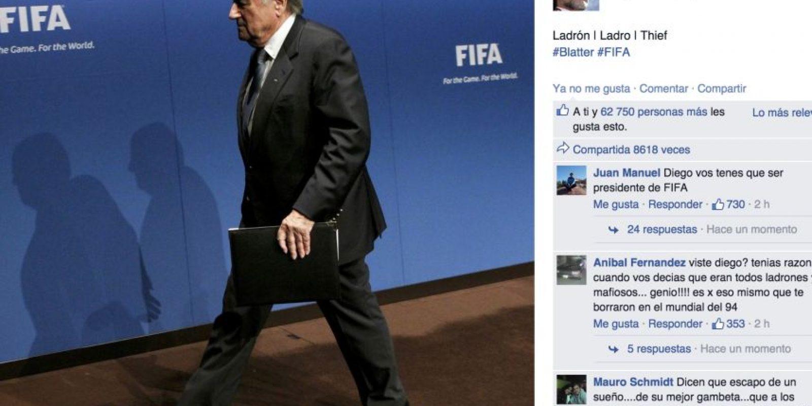 A este le hizo una polémica declaración, sobre el escándalo que ahora ensombrece a la FIFA. Foto:vía Getty Images