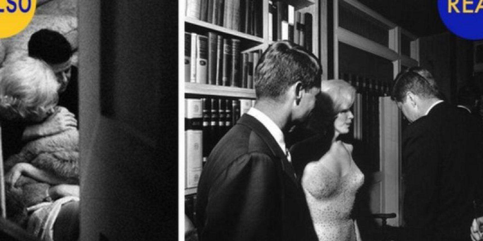 Kennedy y Marilyn Monroe en una situación intima: Se dice que JFK mantuvo un romance con Marilyn Monroe y en la foto de la izquierda aparecen ambos abrazados. No son ellos, son dos dobles fotografiados por la artista Allison Jackson, quien acostumbra usar dobles para recrear fotos. Foto:Flickr – Archivo