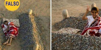 El niño sirio que duerme entre las tumbas de sus padres: La foto de la izquierda ha circulado como desgarradora prueba de las atrocidades del conflicto en Siria. Resulta que las tumbas no pertenecen a los padres del niño, sino que es el proyecto artístico de un fotógrafo llamado Abdul Aziz al-Otaibi. Foto:Flickr – Archivo