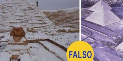 Las pirámides nevadas del desértico Egipto: Dos fotos en las que se ven las célebres pirámides de Guiza cubiertas de nieve. Nunca nevó sobre esa zona. La foto de la izquierda corresponde al parque de atracciones Tobu World Square, en Japón. La de la derecha es una foto antigua convenientemente decolorada para que la arena parezca nieve Foto:Flickr – Archivo