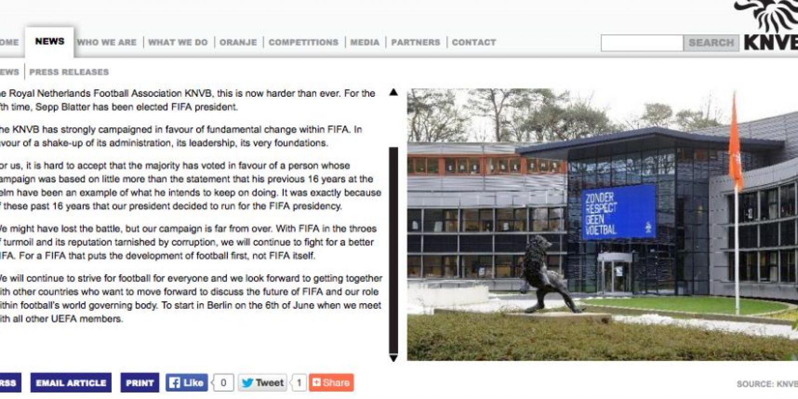 KNVB, Asociación Holandesa de Fútbol Foto:home.knvb.nl