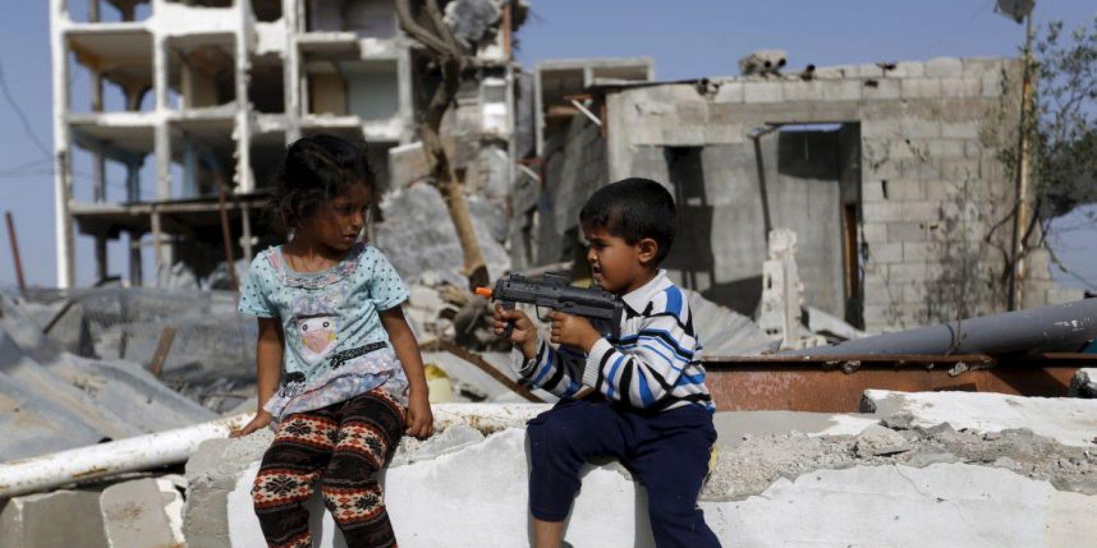 Niños palestinos jugando. Foto:AFP