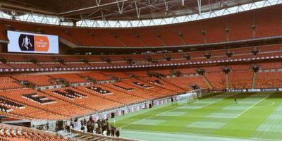 Así lucía Wembley a horas del comienzo del partido. Foto:Vía twitter.com/arsenal