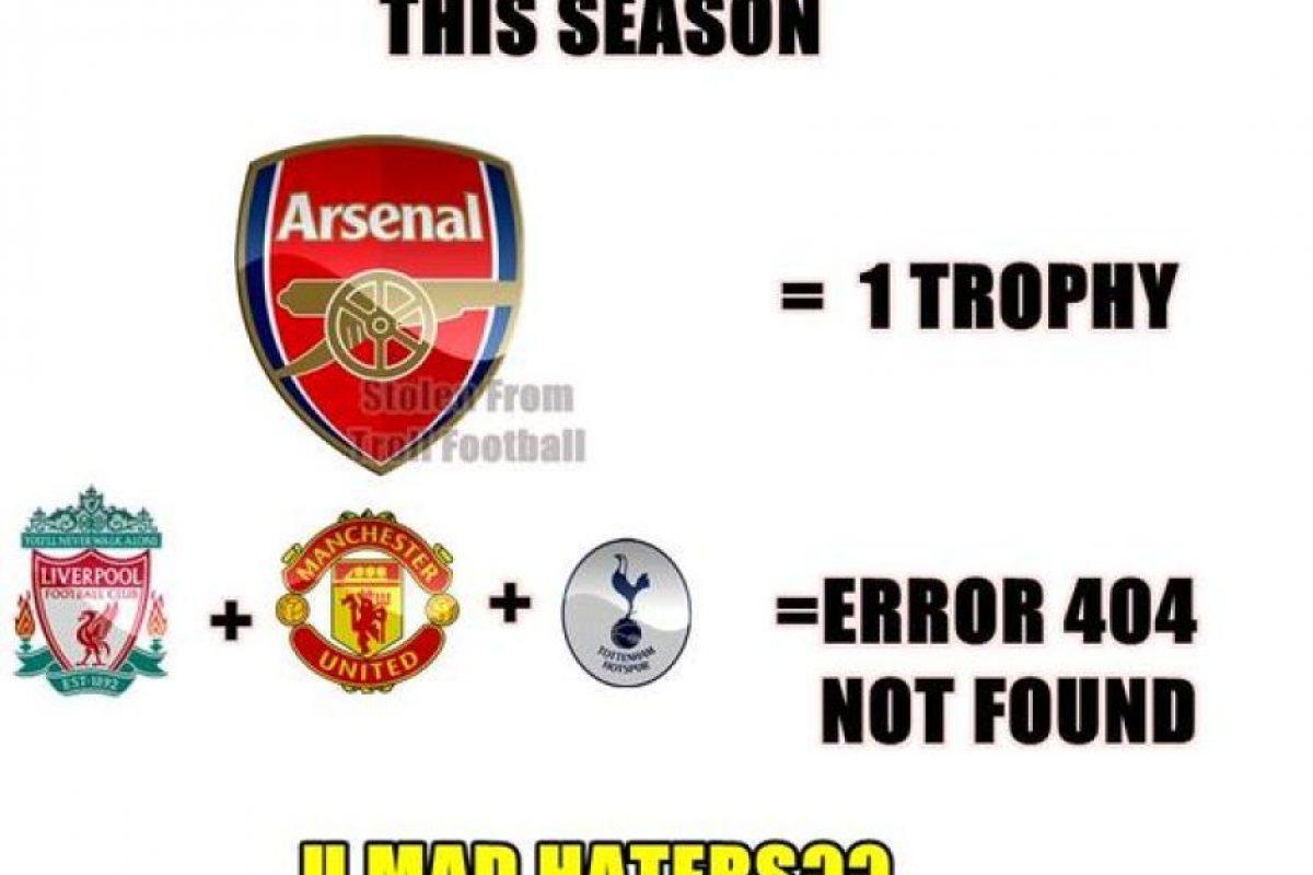 Con esta FA Cup, Arsenal ganó más trofeos que Manchester United, Liverpool y Tottenham. Foto:Twitter.com/troll__football