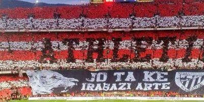 Ambas aficiones sorprendieron con sendos mosaicos. La del Athletic. Foto:Vía twitter.com/livinvidaultra