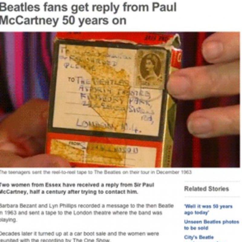 Una mujer recibió una respuesta de Paul McCartney 50 años después. Foto:Captura de Pantalla