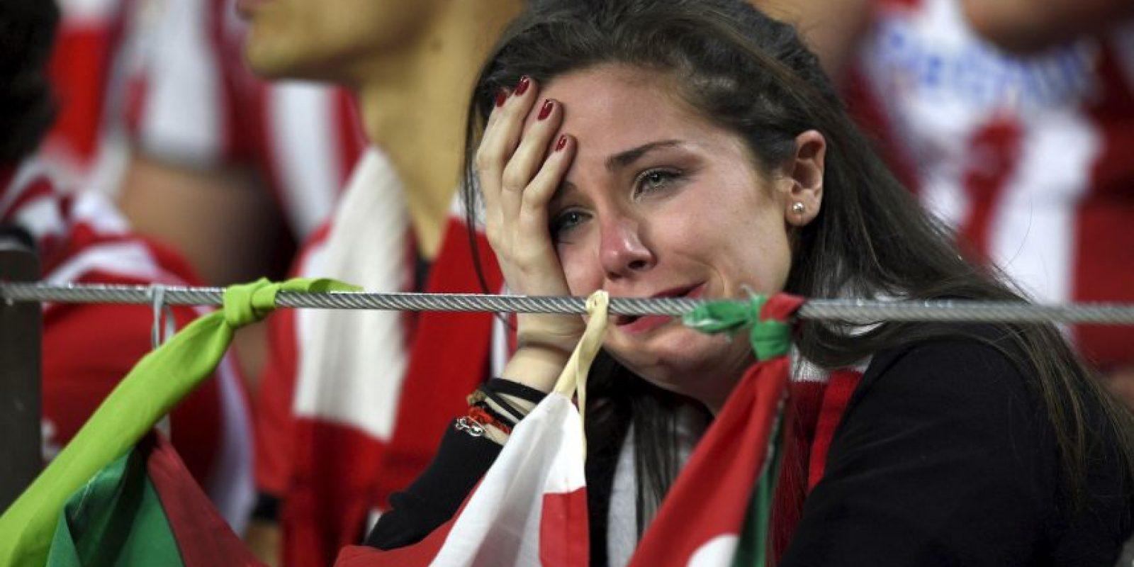 Pero del lado del Athletic hubo lágrimas de tristeza. Foto:AFP