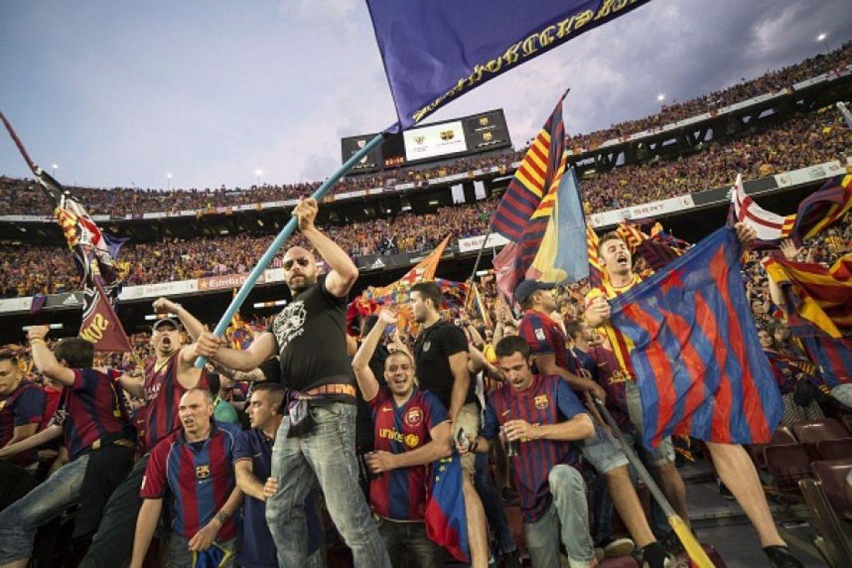 """La afición del Barcelona celebró el """"doblete"""" de su equipo. Foto:Getty Images"""