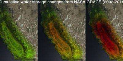 La imagen muestra cómo se ha ido secando California en los pasados 12 años. Foto:Vía Facebook/nasa