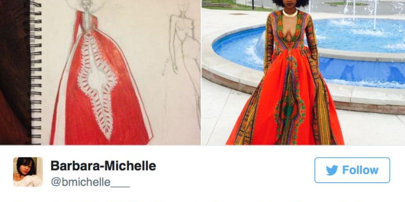 Por eso inspiró este increíble vestido. Lo hizo ella a mano. Foto:vía Twitter