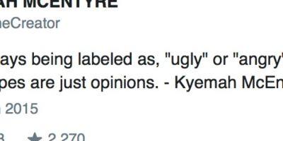 """Como no faltan las críticas solo dijo: """"Fea es un estereotipo"""". Foto:vía Twitter"""