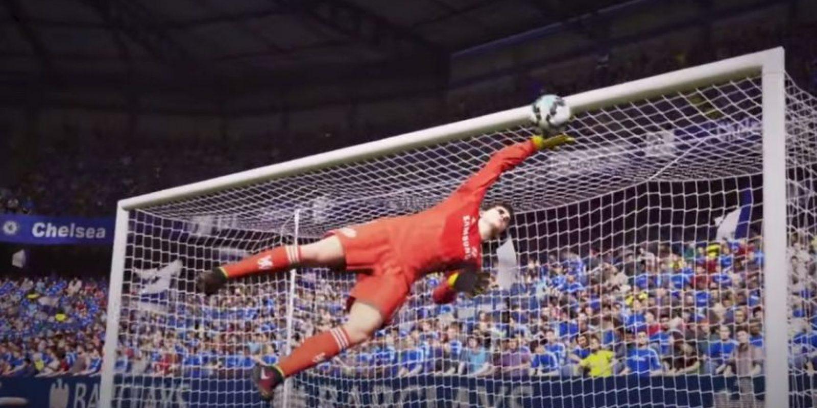 Courtois desviando el balón en el Stamford Bridge. Foto:EA Sports