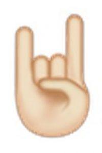 Mano con símbolo de rock. Foto:emojipedia.org