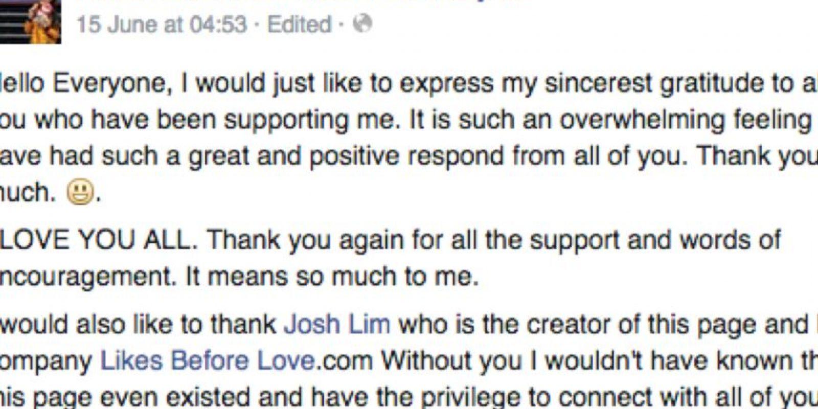 Ella agradeció todo este apoyo. Foto:vía Facebook/Farah Ann Abdul Hadi For Malaysia