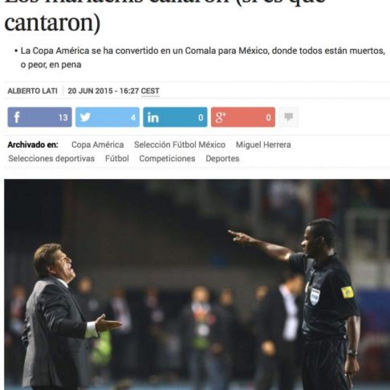 """El País de España publicó """"Los mariachis callaron"""" Foto:El País"""
