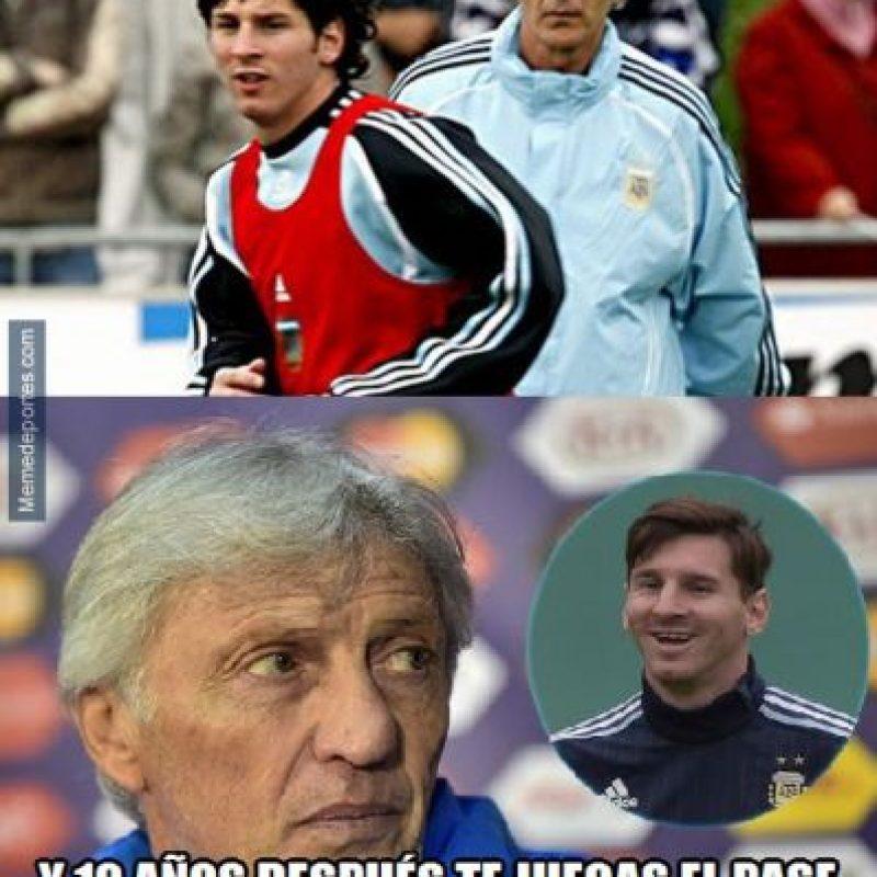 Y el reencuentro de Pekerman con Messi. Foto:memedeportes.com