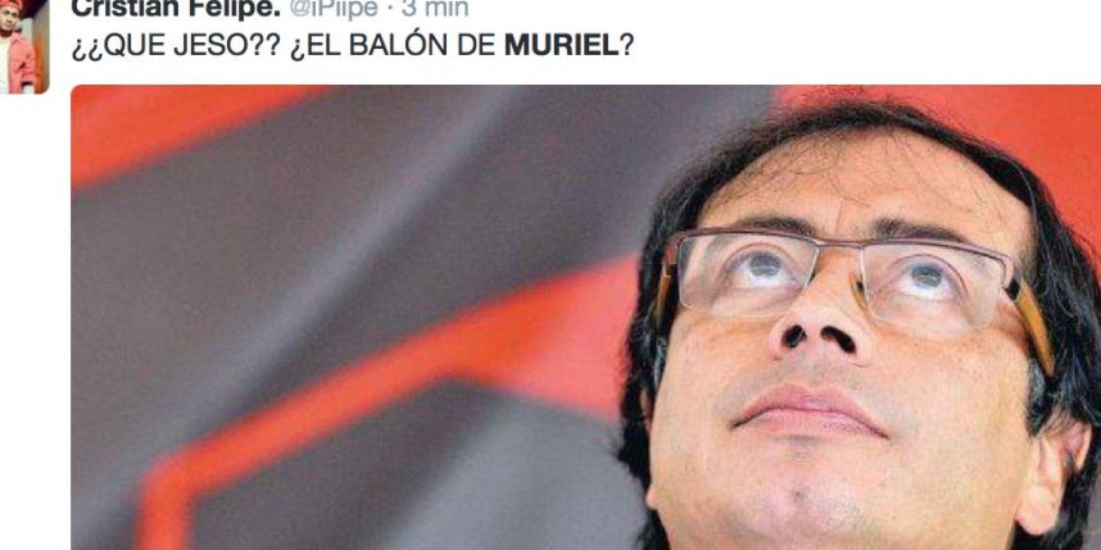 Pero el balón de Muriel y Zúñiga… Foto:vía Twitter