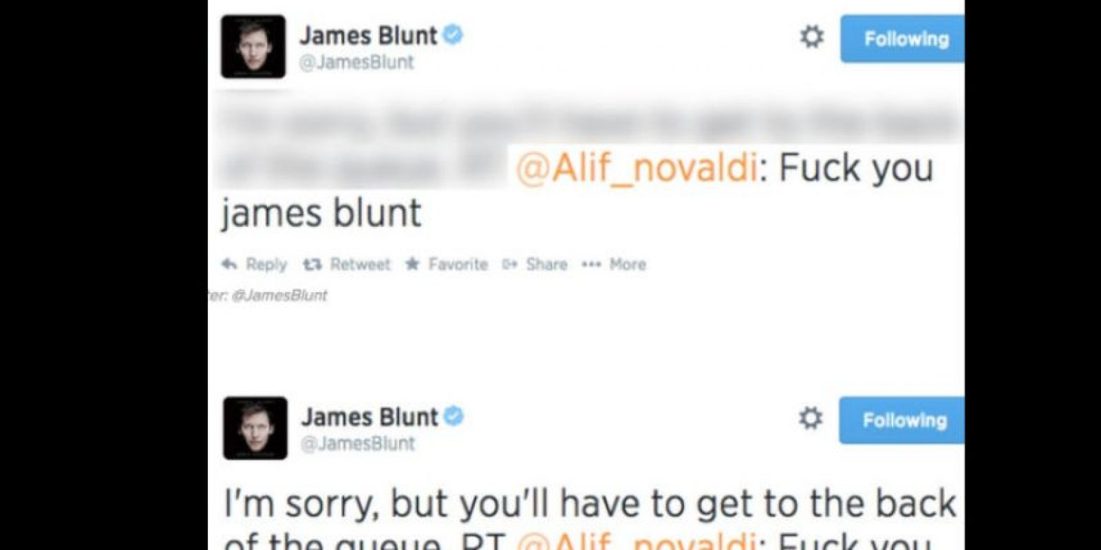 """James Blunt es muy bueno para despachar trolls. Uno le dijo: """"Púdrete"""". Y él le respondió: """"Bueno, fórmate"""". Foto:vía Twitter"""