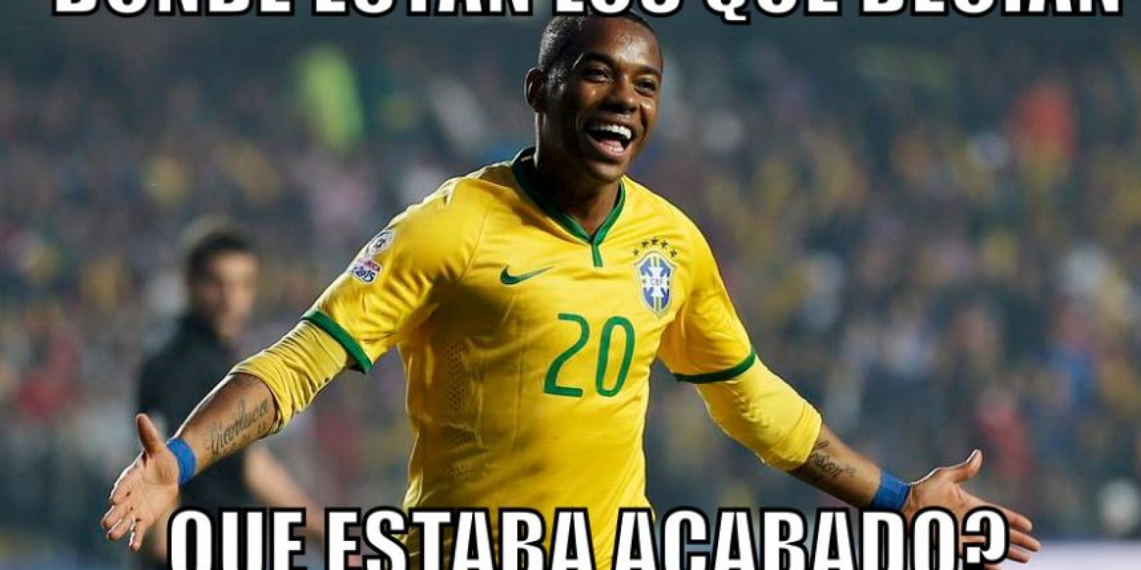 Pues con gol de Robinho, Brasil ganaba 1-0. Foto:Vía twitter.com