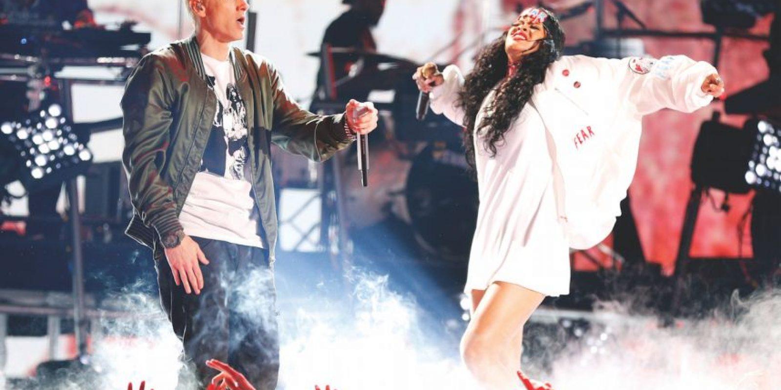"""Eminem con Rihanna – """"Love The Way You Lie"""" (2010) Es el himno que nace de la adversidad, con récord en ventas, """"Love The Way You Lie"""" definió el 2010 y podría decirse, la carrera de Eminem. El duro tema ve a los dos artistas unirse a través de una comprensión compartida de las relaciones turbulentas. Foto:Getty Images"""