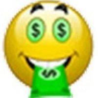 Rostro con los ojos de dinero y boca de billete. Foto:emojipedia.org