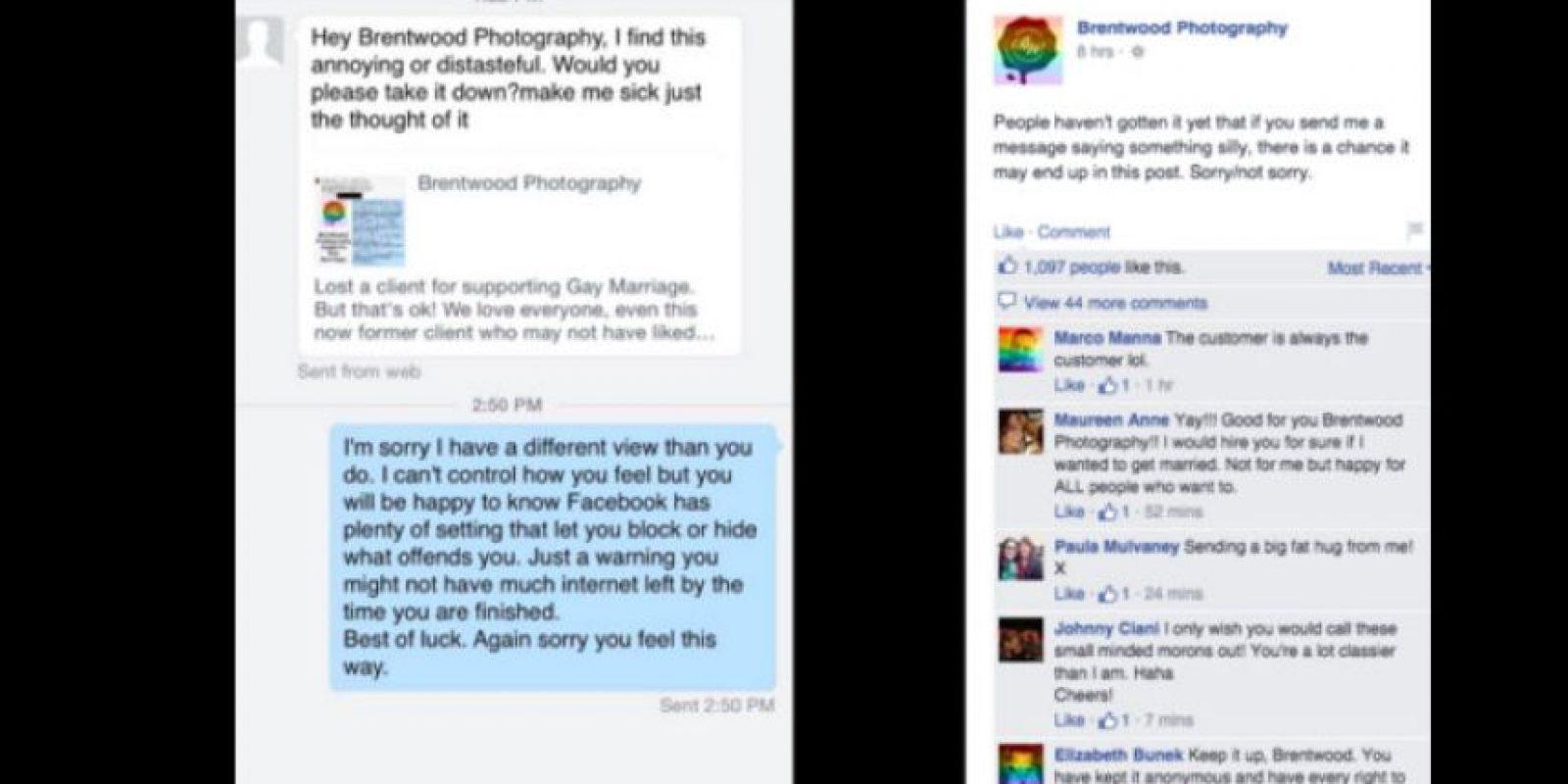 Como la imagen del primer cliente se hizo viral, este le pidió a Brentwood borrar la conversación, pero él la hizo pública. Foto:vía Facebook/Brentwood Photography