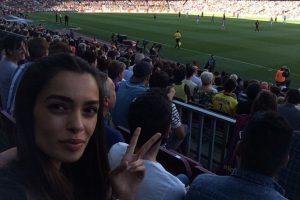Y ella misma publica sus visitas a la cancha donde juega Alves. Foto:Vía instagram.com/joanasanz