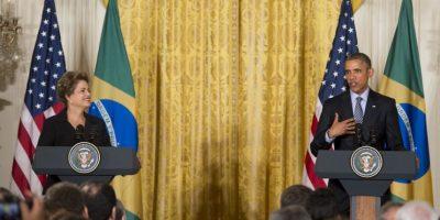 El presidente Barack Obama y Rousseff, comentaron temas como el cambio climático y el comercio entre ambos países. Foto:AFP
