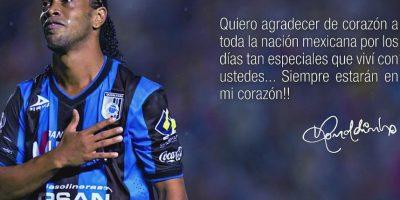 Después de una temporada en México, Ronaldinho dice adiós a la Liga MX. Foto:ronaldinho10.net