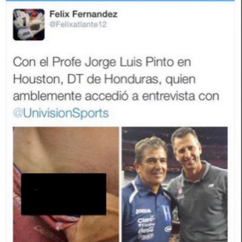 Agradeció la entrevista con el técnico de Honduras, Jorge Luis Pinto, pero también posteó esta imagen Foto:Vía twitter.com/Felixatlante12
